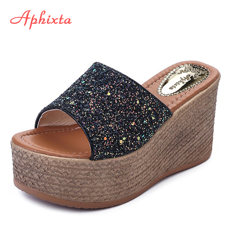 Aphixta Summer Wedge Tøfler Platform High Heels Kvinder Slipper Ladies Outside Shoes Basic Clog Wedge Slipper Flip Flop Sandaler