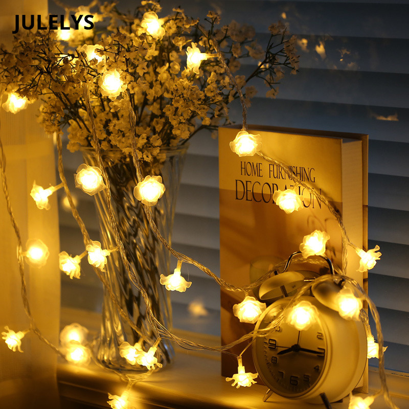 JULELYS 30M 300 Bulbs Rose Garland Light Christmas LED Strings Holiday Birthday Gerlyanda Lights Decoration For Wedding Room ...