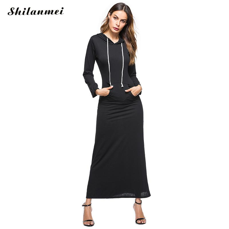 482ca9b294 2018 Autumn Winter Women Long Hoodie Dress Fashion Long Sleeve Pullover Big  Pockets Casual Maxi Sweatshirt Hooded Shirt Dresses-in Dresses from Women s  ...