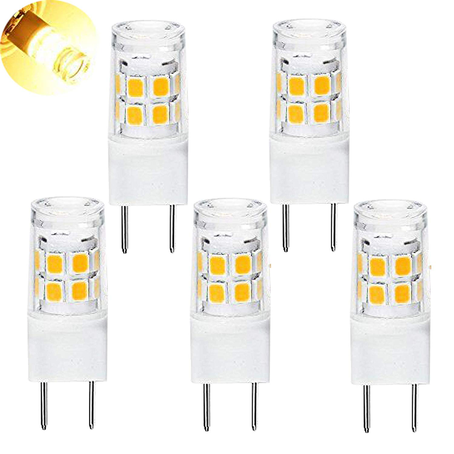 LED G8 Light Bulb, G8 GY8.6 Bi-pin Base LED, Not Dimmable T4 G8 Base Bi-pin Xenon JCD Type LED 120V (5-Pack) (G8 3W) все цены
