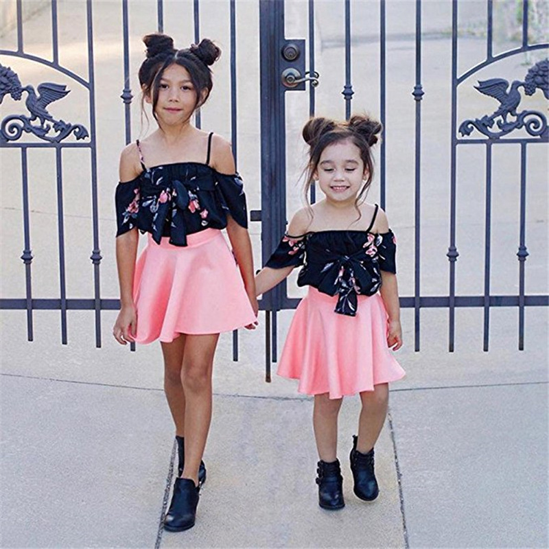 2pcs Set Summer Fashion Cotton Toddler Girls Floral Tops + Skirts Clothes Outfits Ruffles Infant Kids Mini Princess BFF Clothes
