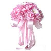 2017 Fashion Design Crystal Roses Pearl Bridesmaid Wedding Bouquet Bridal Artificial Silk Flowers Wholesale A2000
