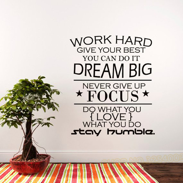 Motivation Quote Wall Decal Quote Work Hard Dream Big Never Give Up