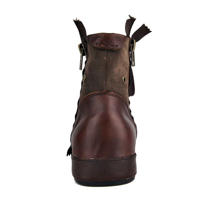 Plus Size Vintage Zipper Mens Work Boots High Quality Round Toe Genuine Leather Ankle Boots Casual Riding Boots Zapatos Hombre - 4