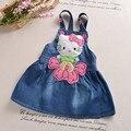 BibiCola  cartoon children jeans dress baby girls cotton leisure bib dress fashion toddler girl denim dress for summer