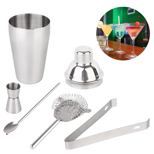 fa3472570534 5pcs Cocktail Shaker Set 750ml Professional Stainless Steel Cocktail Maker  Jigger Ice Strainer Clip Spoon Bar Tools Household F4