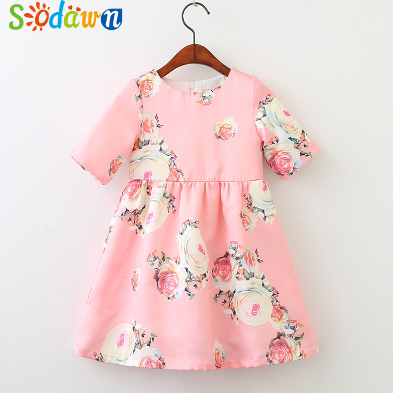 Sodawn 2018 Spring New Fashion Girls Clothing Flower Printing Short-Sleeved Princess Dress Childrens Clothing Baby Girls Dress