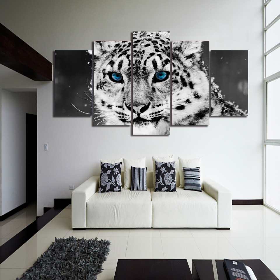 HD Printed snow leopard black white picture Painting wall art room ...