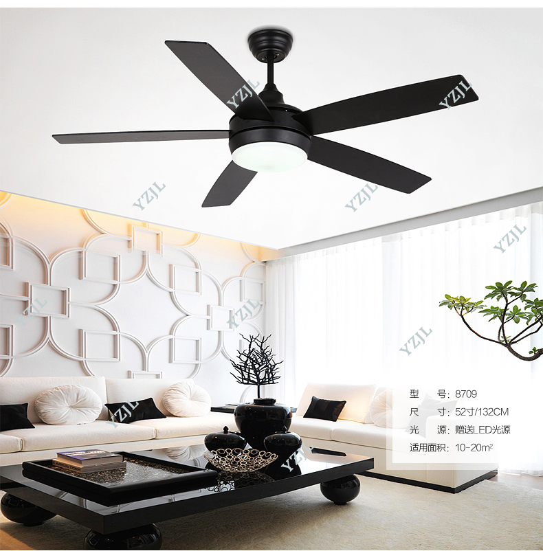 Black Chandelier Fan: Five Leaf Ceiling Chandelier Fan Lights Black Chandelier