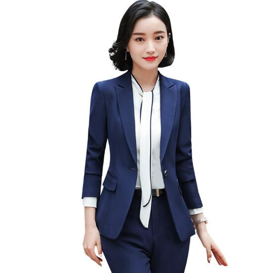 Pant Suits Devoted New Blue/black Womens Pants Suits Elegant Office Lady Business Work Trouser Suits Tuxedos Uniforms B295