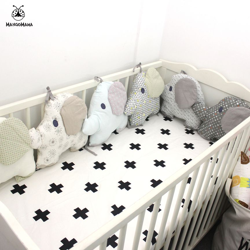 6pcs baby bed bumper Elephant shape design embroidery ...