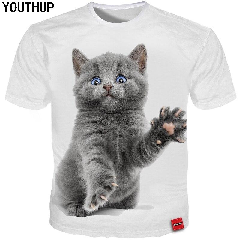 YOUTHUP 2018 Plus Size 5XL Summer Men/Women T Shirt Cat 3d Print Lovely Funny T Shirt Men Originality Tees Tops Cute 3d T Shirt