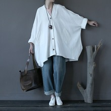 Хлопок Белье Сплошной Красный Белый Плюс размер Женщин Пальто Новый дизайн Негабаритных Свободные Осень Пальто Женщины Винтаж Топы Роковой A129