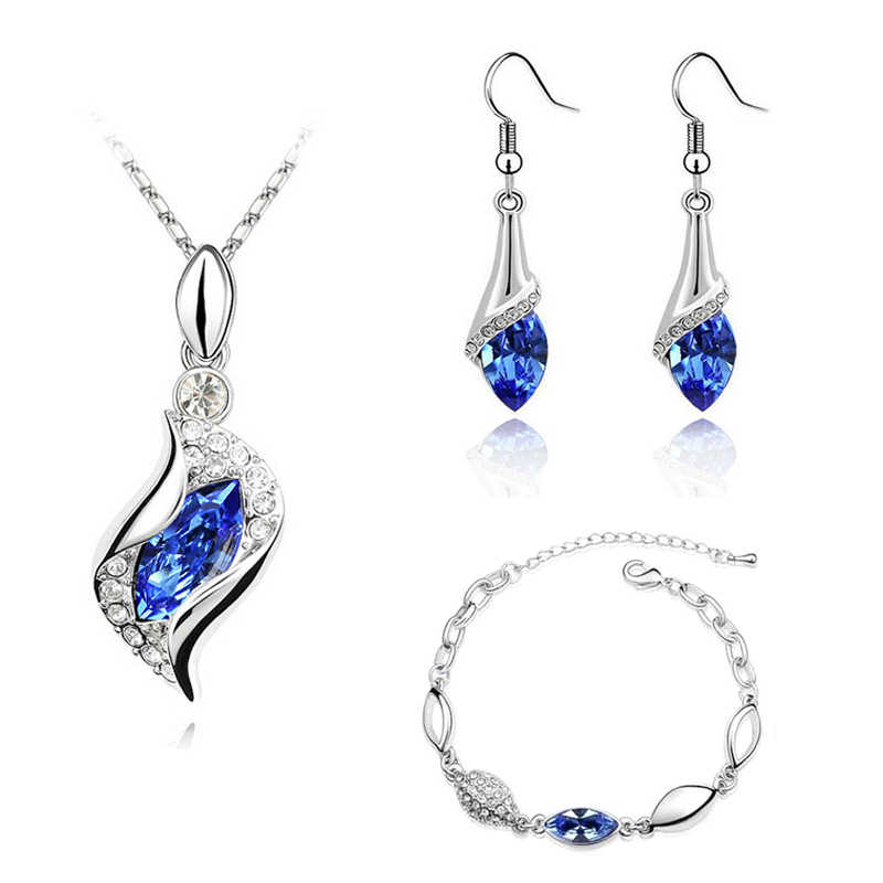 MISANANRYNE Elegant Luxury Design New Fashion Gold Filled Colorful Austrian Crystal Drop Jewelry Sets Statement Jewelry