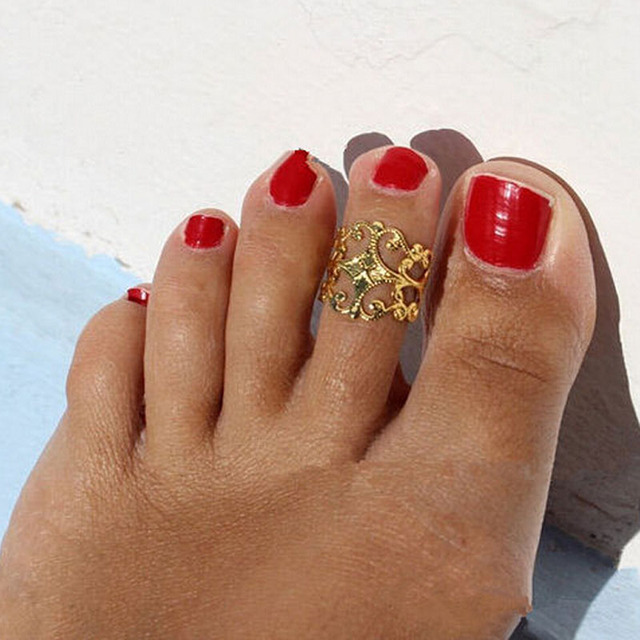 Europe Punk Vintage Flower Toe Ring Gold Silver Foot