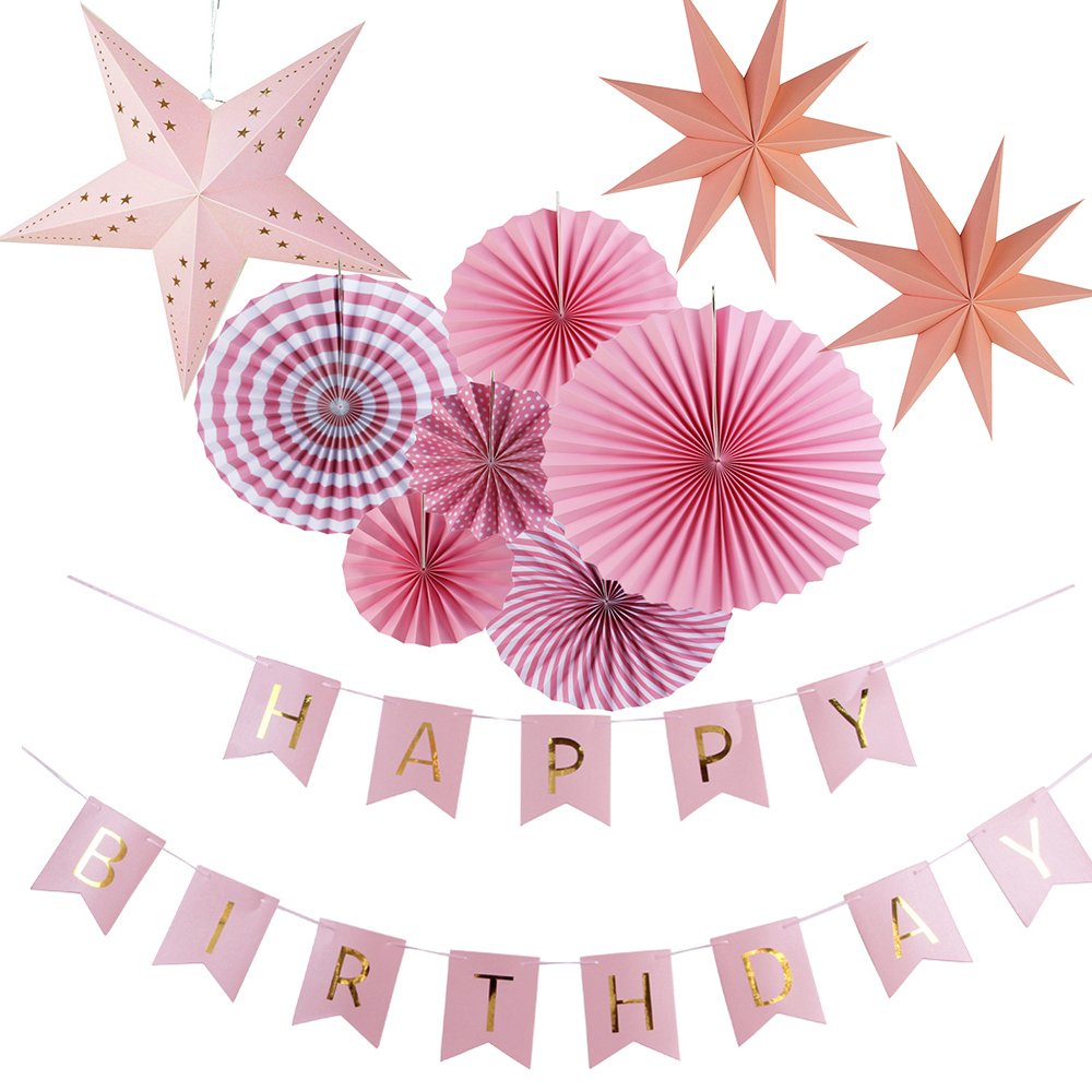 Happy Birthday Girl Pink Party Decorations 10pcs/set With Birthday Banner Paper Star Kids Baby Girl Birthday Decoration Supplies