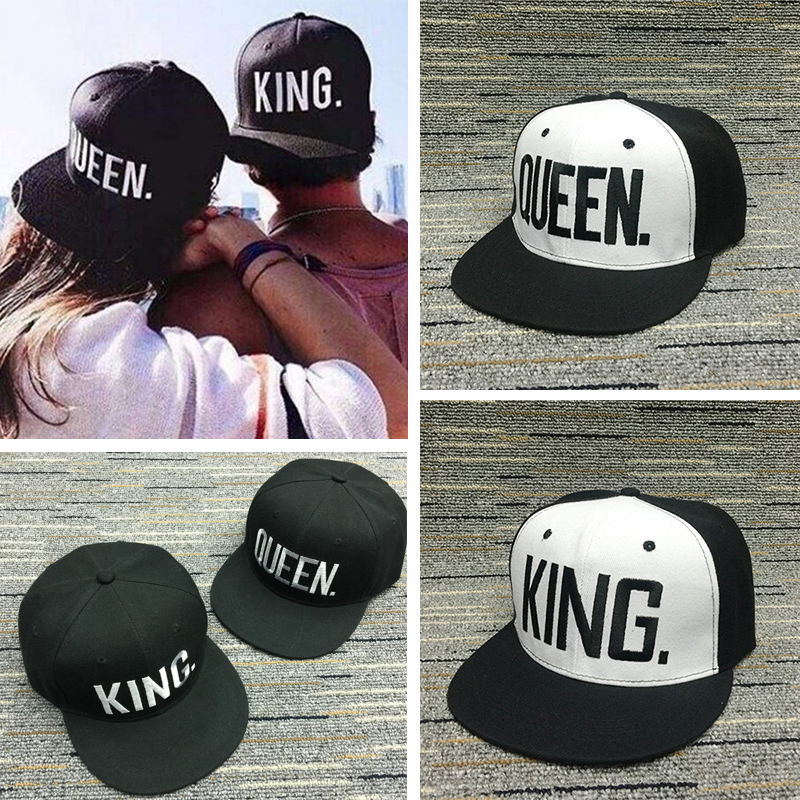 Women letter   baseball     Caps   Snapback men women Adjustable Hip Hop Hats for lovers KING QUEEN embroidery hats chapeau black white