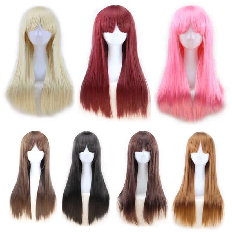Perruque synthétique lisse à frange pour femme   Perruque longue résistante à la chaleur, noire rose Auburn marron bordeaux, perruques de Cosplay pour femmes