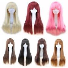 дешево✲  длинные прямые парики челки черные парики блондинка розовый коричневый бордовый парик жаропрочные