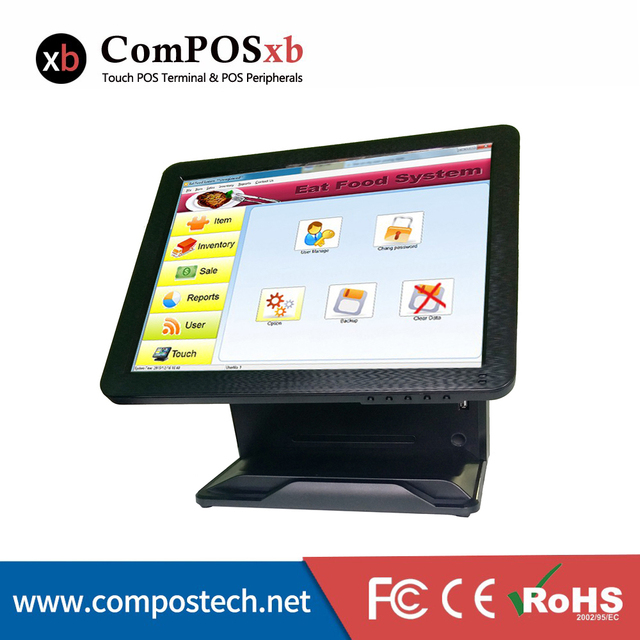 Windows POS 15 inch Dual Screen POS System All In One Touch Screen Cashier Register With MSR Card Reader