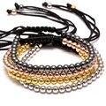 1pcs NEW Handmade Brand Men Bracelets, 18K  Rose Gold plated 4mm Round Beads Handmade Braiding Macrame Bracelet  For woman