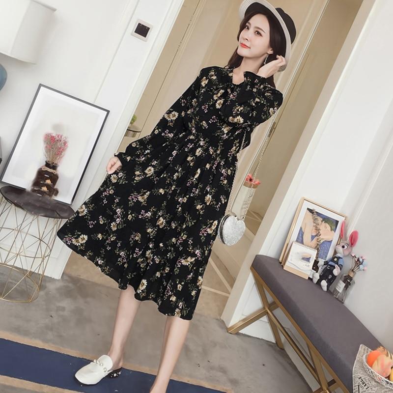 Summer Korean Chiffon Women Dress Elegant Ladies Vintage Long Dress Boho Floral Office Long Sleeve Vestidos Clothing 5LYQ003 62
