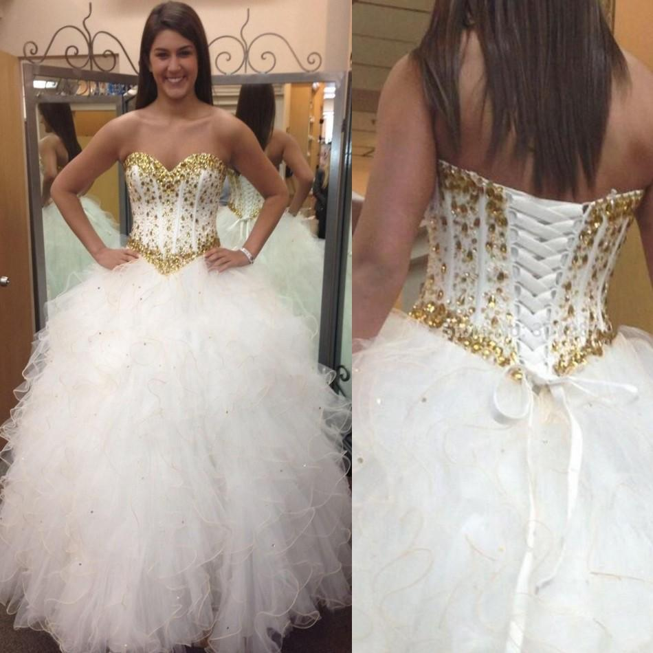Popular White and Gold Sweet 16 Dresses-Buy Cheap White and Gold ...