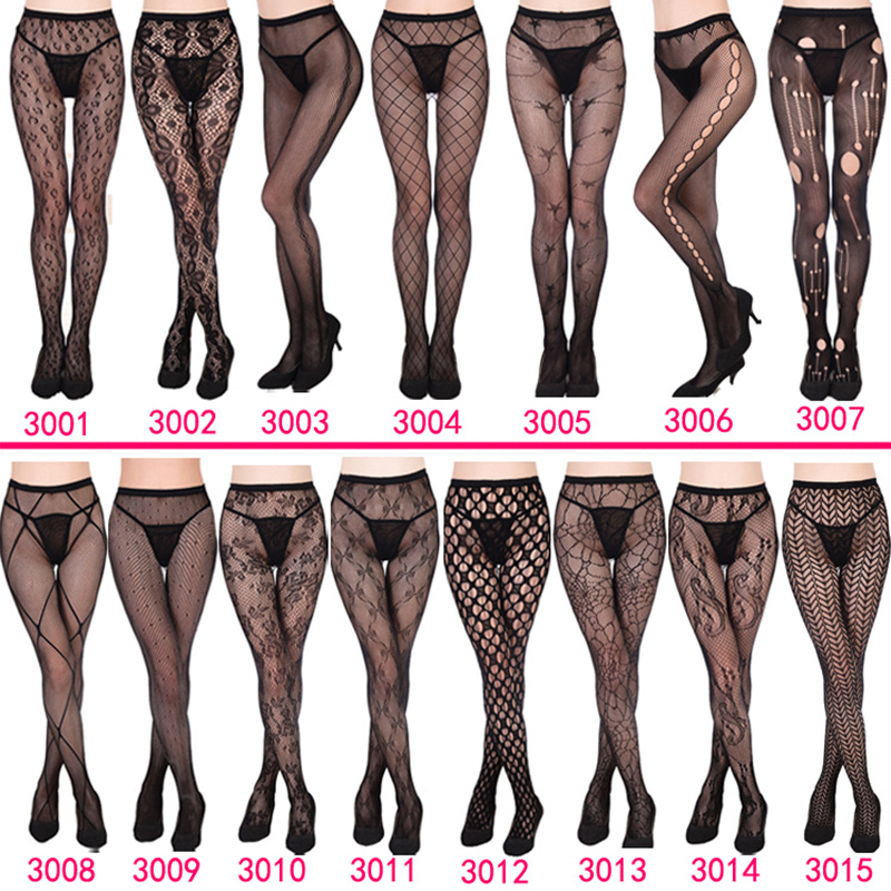 Luckymily 11 Style Sexy Womens Lingerie Long Stockings Transparent Black Fishnet Stocking Thigh Sheer Tights Embroidery Pantyhos