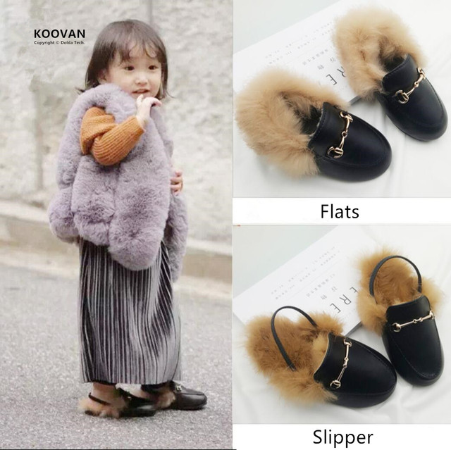 Koovan Children Fur Shoes 2017 Spring Hot Selling Girls Slippers Rabbit Hair Parent-child Plush Shoes Leather Warm Sandals