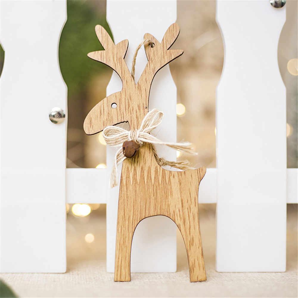 1 piezas de Navidad de madera de árbol de Navidad DIY colgantes adornos para la fiesta de Navidad decoración del hogar