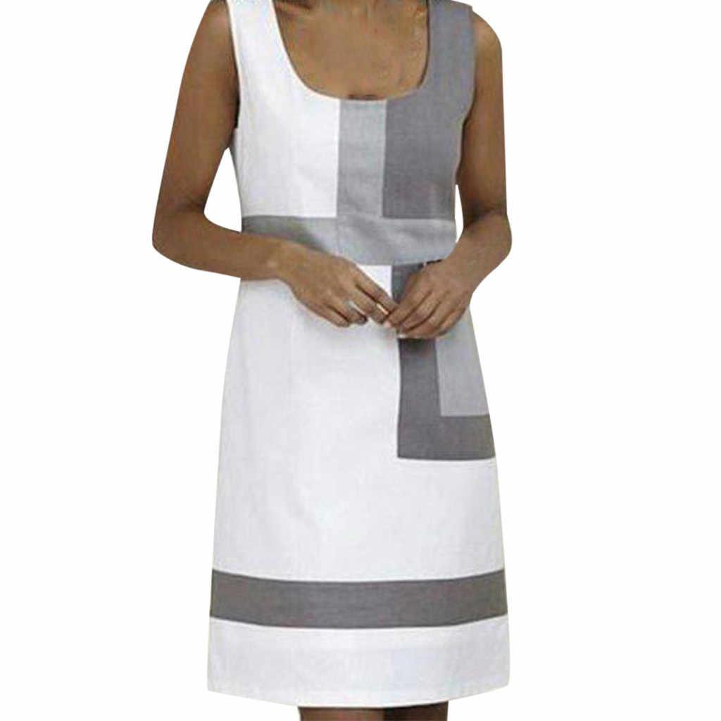 2019 Европейский Американский стиль осеннее пляжное платье женское Повседневное платье без рукавов с геометрическим принтом женские сексуальные мини платья #3