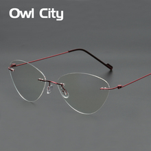 Cat eye Eyeglasses Women Titanium Myopia Rimless Glasses Anti-blue Ray Memory Optical Spectacle Eyewear Female Eyeglass Frame