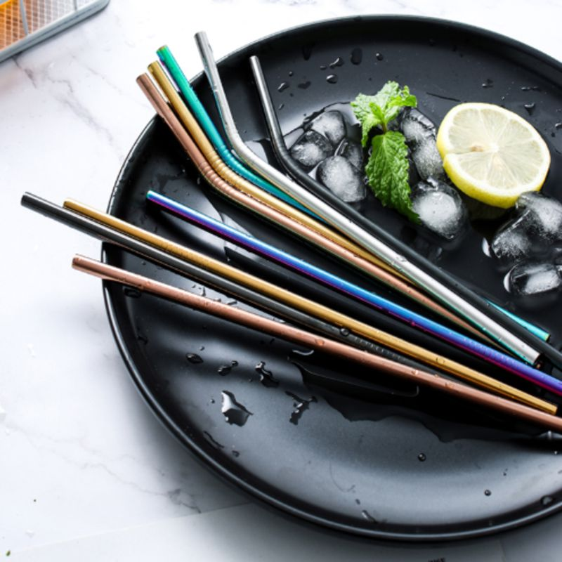 Reusable Stainless Steel Straw Set With Cleaner Brush Straight Bent Metal Drinking Straw For Home Party Bar Accessories Water