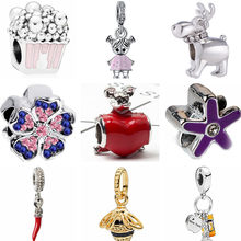 Punk Small Enamel Umbrella Dog Snowman Peacock Popcorn Crystal Beads Fit Pandora Charms Bracelets for Women Party DIY Accessory(China)