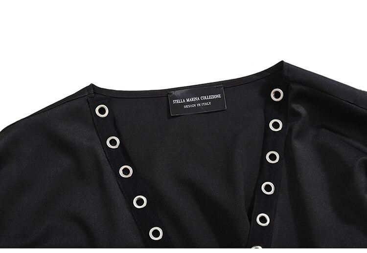 HTB1O1TKc6fguuRjSspaq6yXVXXa0 2019 Korean Style Women Very Long Solid Black Jacket Open Design Long Tape Stitched Metal Holes Female Stylish Loose Jacket 3843