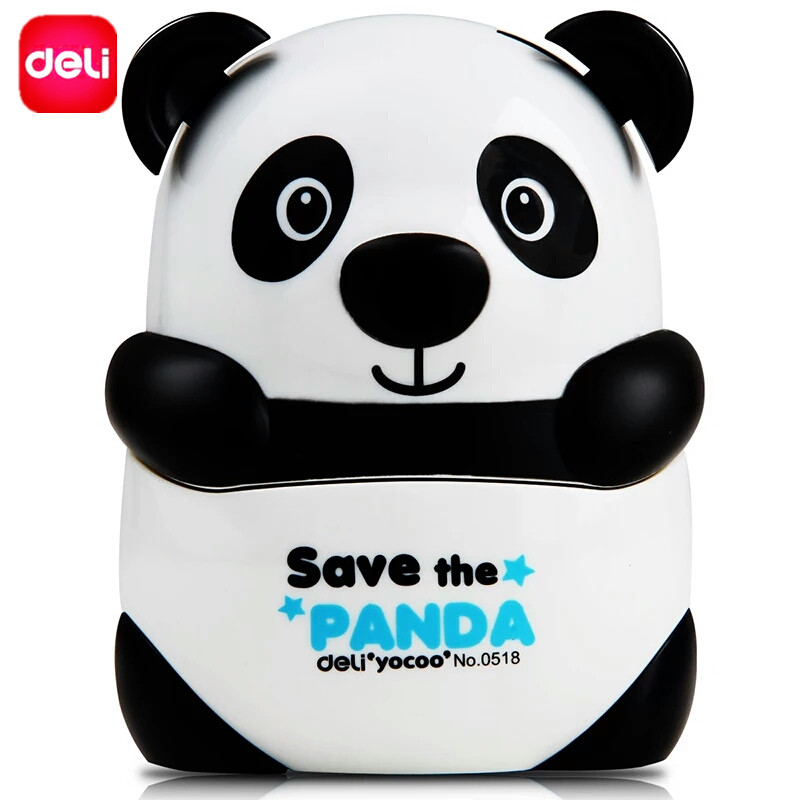 Deli Manual Pencil Sharpener Cute Panda Hand Crank Mechanical Knife Sharpener Accessory Stationery office school Supply Toy Gift