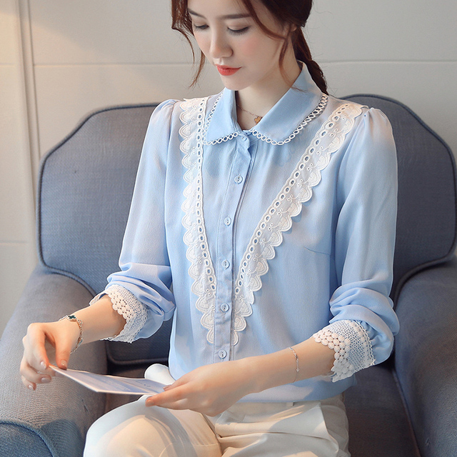 5ae26f57645fff Temperament Lace Stitching Chiffon Shirt 2017 Autumn New Arrival Doll  Collar Long Sleeves Pure Color Office Work Woman Blouse