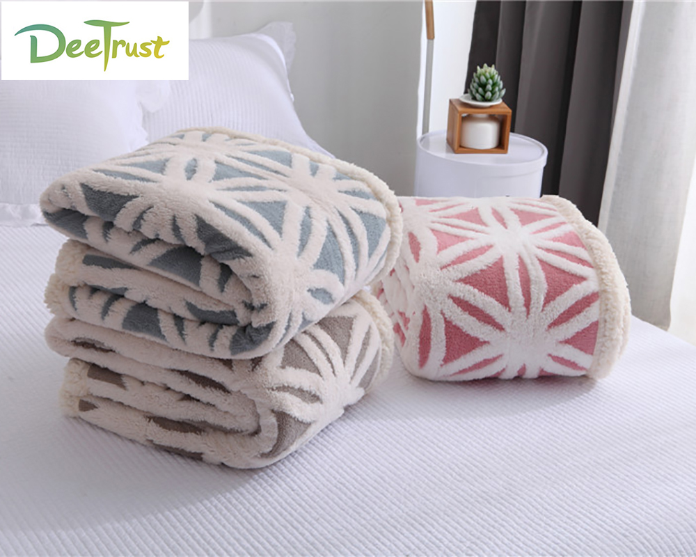 Soft Warm Double Blanket Jacquard Lint Christmas Blanket Travel Sofa Lambskin Children Blankets For Bed Soft Fluffy Coberto