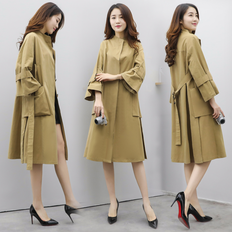 Khaki Black Apricot Color Women Street Casual Coats Turn Down Collar Single Breasted Outwears Slim Japanese Korean Trench Coats