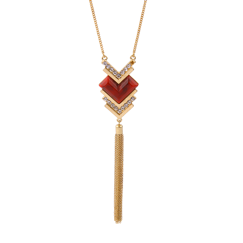 Dark Red Coral Romantic Heart Necklace For Women Jewelry Antique Gold Color Long Tassel Necklace For Girlfriend Gifts