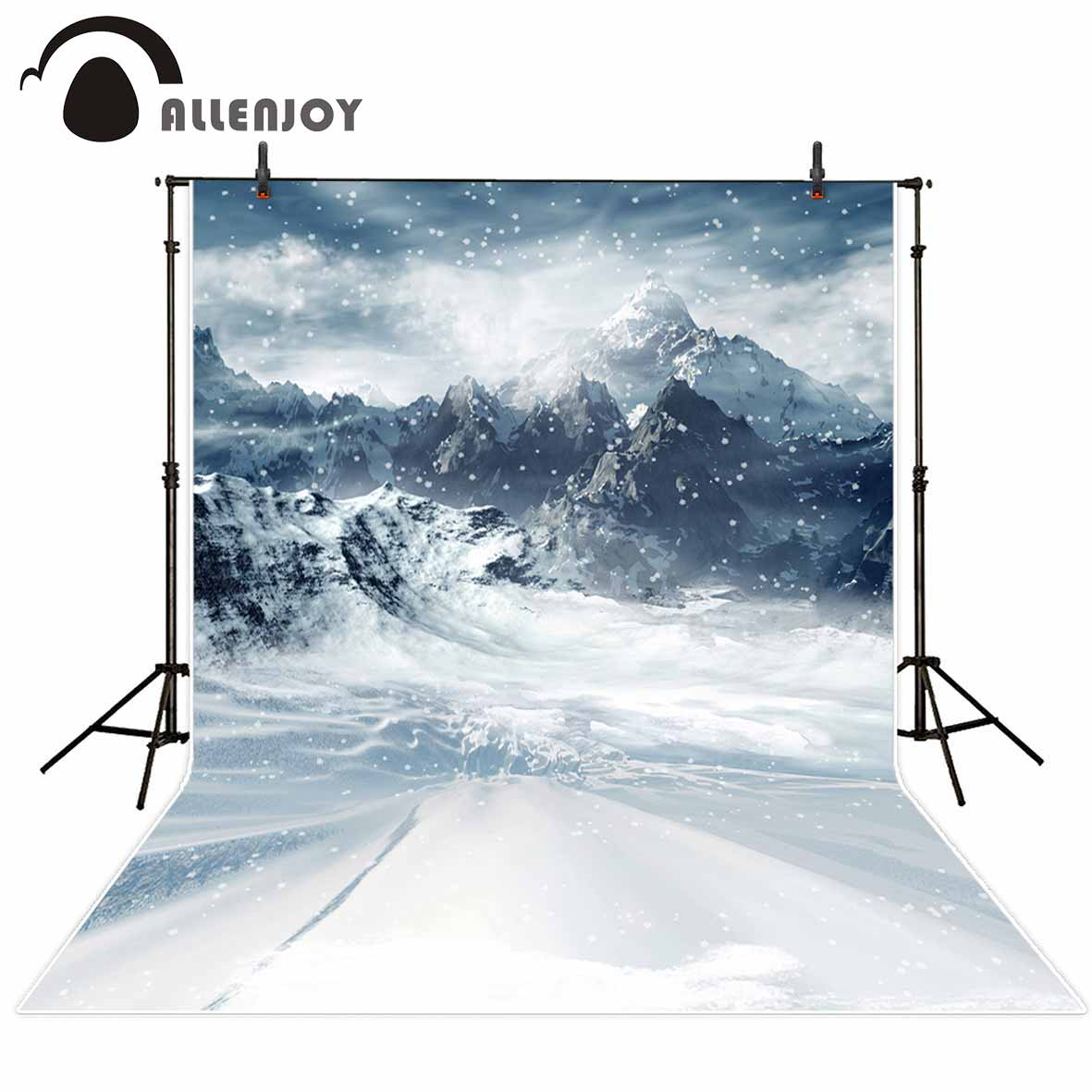 Allenjoy photography backdrops Winter background snowy mountains vinyl backdrops for photography kids photography background дон jsd 20 egft winter mountains