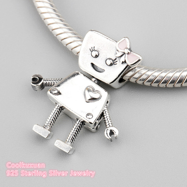 921bde9c1 2018 Spring Authentic 925 Sterling Silver Bella Bot Charm, Pink Enamel  Charm Beads Fit Pandora Charms Bracelet Jewelry Making
