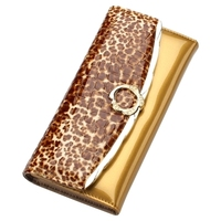 Women's bag 2018 new Europe and the United States wild tide paint leather wallet women's long leopard wallet