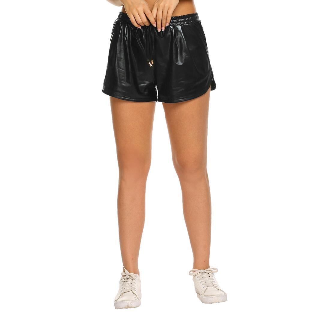 Women Fashion Sporting Shiny Metallic Pocket Yoga Loose Summer Natural Shorts Above Knee, Mini Fitness,