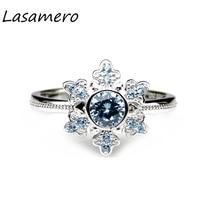 LASAMERO Princess Elsa 0.50CT Natural Aquamarine Gemstone 925 Sterling Silver Snow Flake Halo Design Wedding Engagement Ring