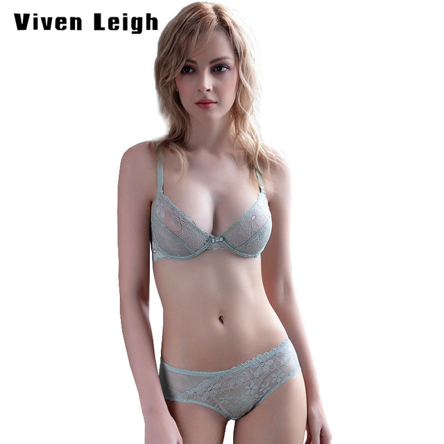 5f850a4816 Women Sexy Lace thin Deep V lace bralette Underwire panty and see through  bra Set Lace Embroidery Lingerie bra set push up