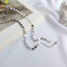 Flyleaf Ins Tarzı Yuvarlak Parça Kolye ve Kolye 100% Kadınlar Için 925 Ayar Gümüş Kolye Moda Zincir Güzel Takı Basit