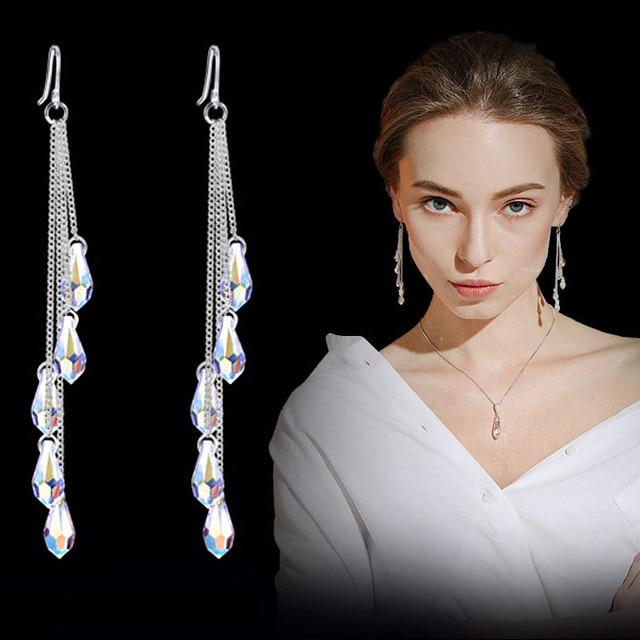 Fashion fine jewelry charm earrings with stones multicolor long drops of water crystal tassel jewelry dangle earrings Brincos