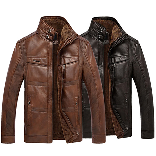 Men's Fashion Cool Style Casual Winter Stand Up Collar Faux Leather Thicken Jacket