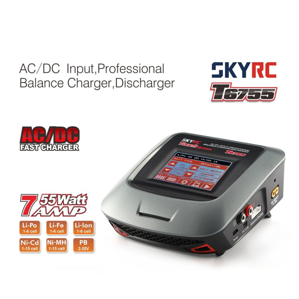SKYRC T6755 7A 55W AC DC Lipo Nicd LiIon NiMH Battery Balance Charger Discharger with 3.2inch Touch LCD Screen for RC Model Toy skyrc t6755 55w 7a screen ac dc battery balance charger discharger